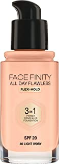 Max Factor Facefinity All Day Flawless 3 In 1 Foundation SPF 20 - # 40 Light Ivory by Max Factor for Women - 30 ml Foundation, 30 milliliters