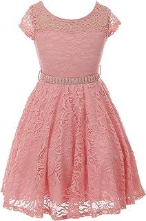 9092da3d1 FREE Shipping on eligible orders. Little Girl Cap Sleeve Lace Skater Stone  Belt Flower Girls Dresses