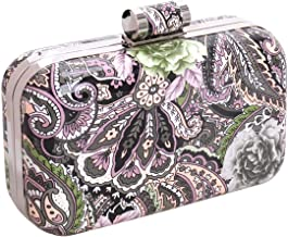 BMC Mix Floral Patterned Hard Case Detachable Chain Fashion Party Clutch Handbag
