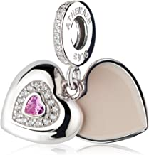 ATHENAIE925Silver ClearCZ Pink Heart Beloved Mother Charms Pendent Drops