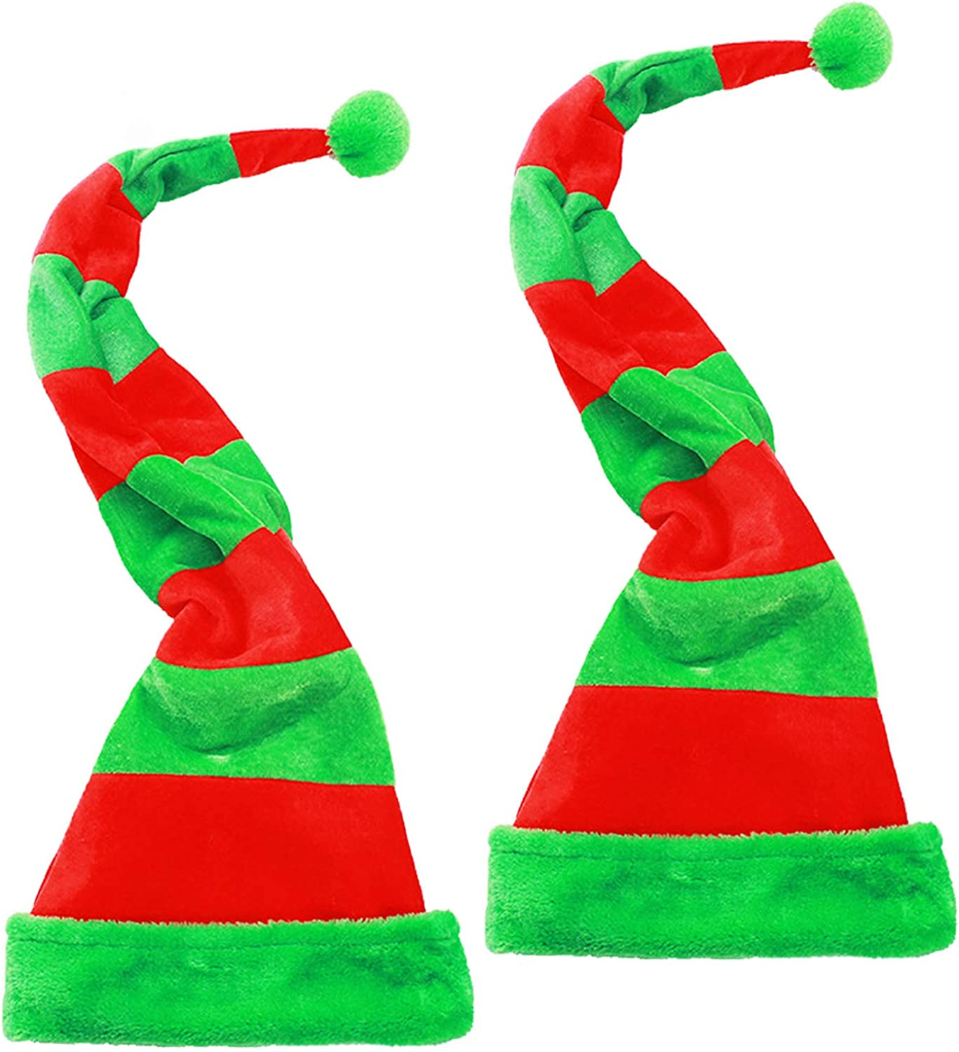 Iceyyyy 2Pcs Christmas Elf Hat - for Striped Award Ranking integrated 1st place Kids Long Felt