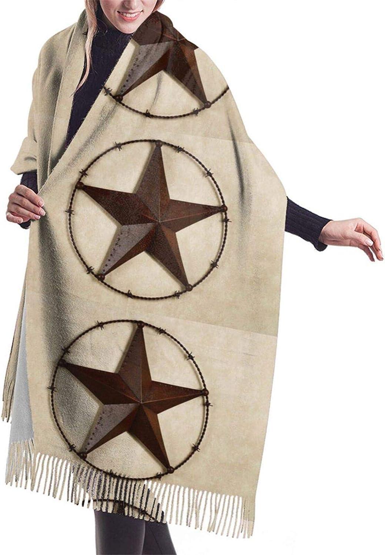 Womens Comfortable Cashmere Scarf,Rustic Texas Star Shawl Scarf,Premium Large Pashmina,Warm Wrap Cape Solid Shawl Elegant Wrap