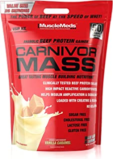 MuscleMeds Carnivor Mass Anabolic Beef Protein Gainer, Vanilla Caramel, 10 Pounds