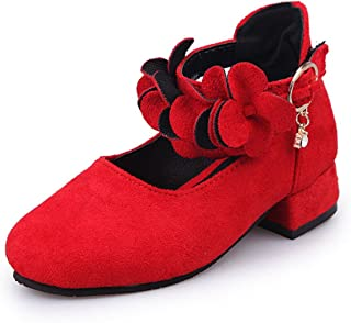 Spring Girls Princess Floral Single Shoes Kids Bow Dance Shoes High Heel Students Party Shoes
