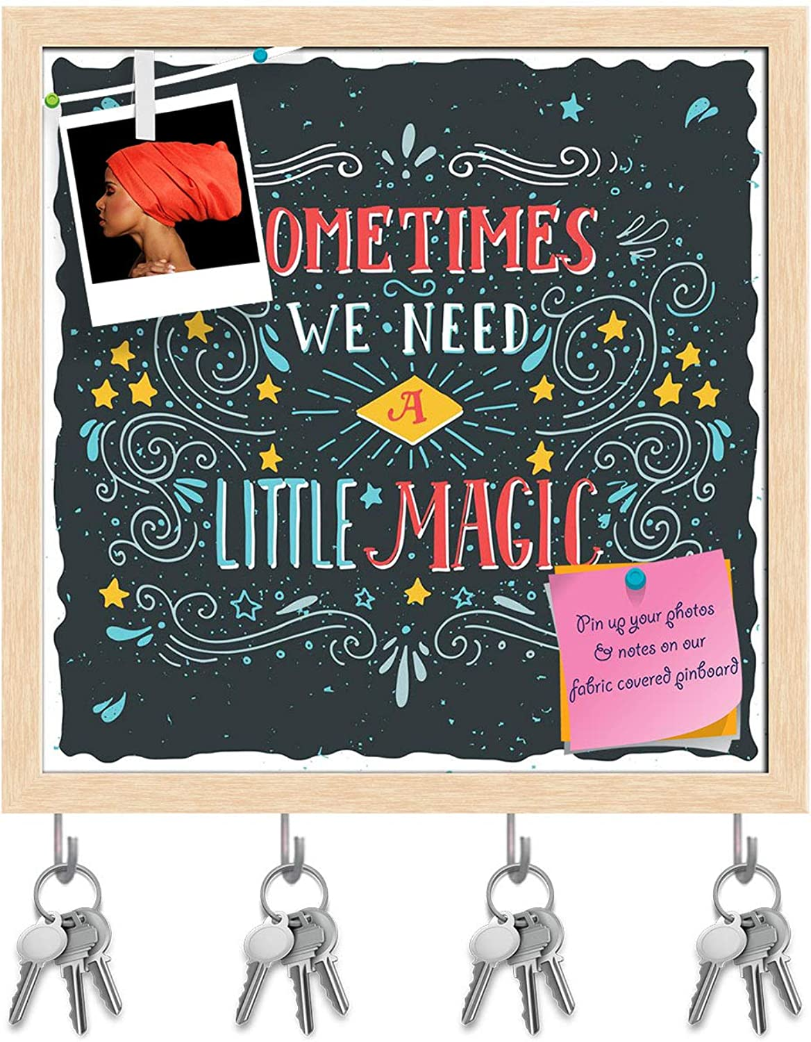 Artzfolio Sometimes We Need A Little Magic Key Holder Hooks   Notice Pin Board   Natural Brown Frame 20 X 20Inch