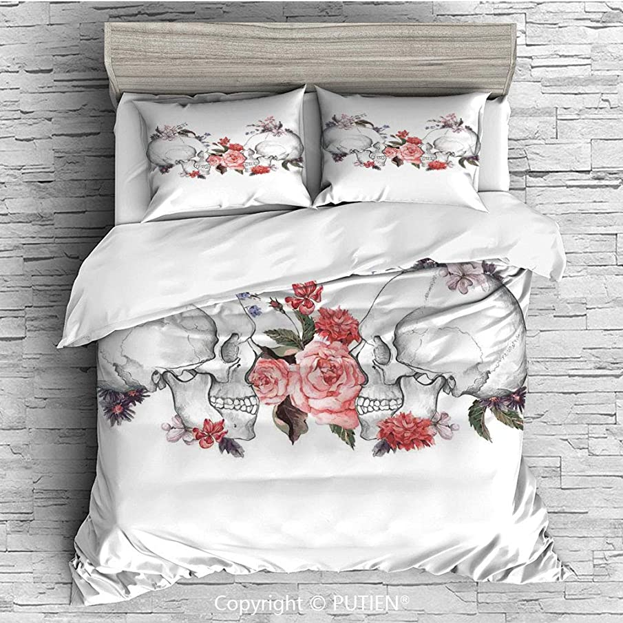 Queen Size Cute 3 Piece Duvet Cover Sets Bedding Set Collection [ Gothic Decor,Roses and Skull Feast of All Saints Catholic Tradition Illustration Art Print, Comforter Cover Set for Kids Girls Boys,