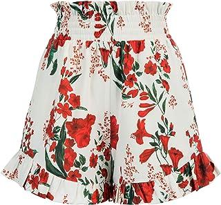 Women Elastic Waist Floral Shorts Summer Beach Ruffle Shorts with Pockets