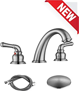RKF Two Handle Widespread Bathroom Sink Faucet with Pop-up Drain with overflow and Faucet Supply Hoses,Brushed Nickel,WF014-8-BN