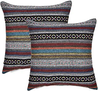 Merrycolor Decorative Throw Pillow Cover for Couch Sofa Bed Set of 2 Bohemian Retro Stripe Cotton Pillowcase Blend Linen Cushion Cover 18 x 18 Inch Grey (Only Pillow Cover) (2 Pack)