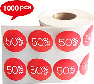 Sale Price Stickers Labels 1000 Pcs Percent Off Stickers for Retail Store Deals Circle Pricemarker Half Off Labels Stickers roll (1.5 inch, Red)