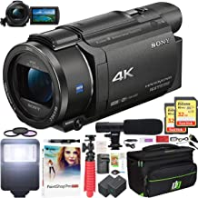 Sony FDR-AX53/B 4K Handycam Camcorder with Exmor R CMOS Sensor Bundle with 2X 32GB Memory Card, Camera Bag, Microphone, Battery, Charger, Paintshop Pro, Flash, 55mm Filter Kit and HDMI Cable