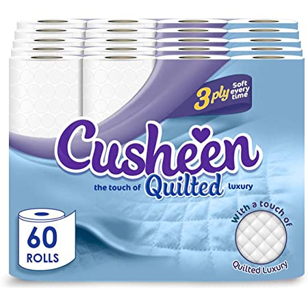 Cusheen Toilet Roll Bulk Buy – Pack of 5 x 12 (x 60 in total) Quilted White 3 Ply Toilet Rolls