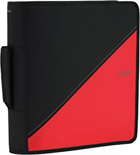 Five Star 3-inch Zipper Binder with Handle, 12-4/5 x 12-1/5 Inches, Black/Red (28018LA9)