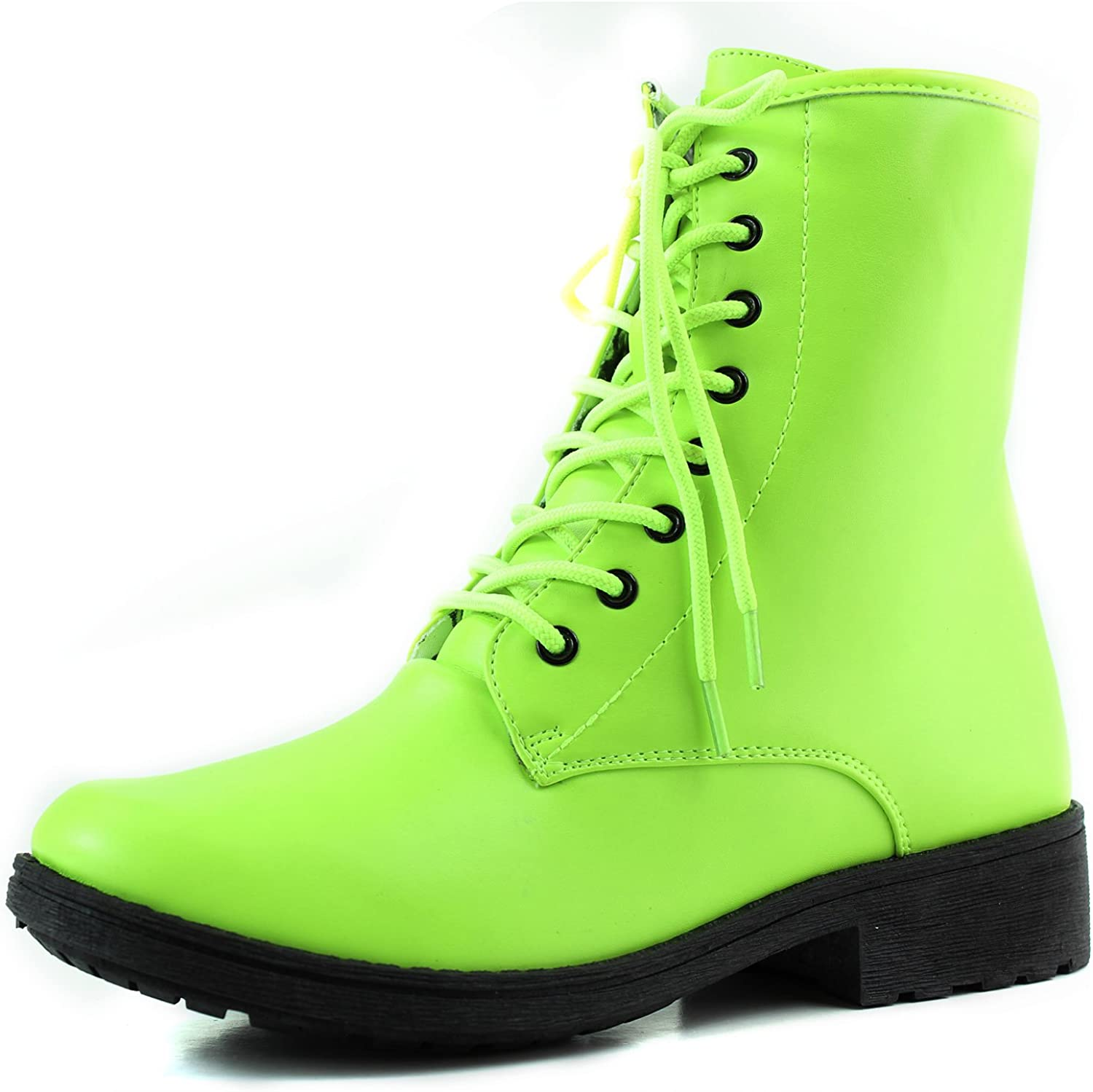 Qupid Women's Ankle Bootie Military Combat Lace Up Boot Neon Yellow color, Yellow, 5.5