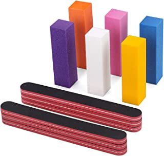 Nail Files and Buffers, 100/180 Grit Nail File and Rectangular Art Care Buffer Block Tools by HAWATOUR