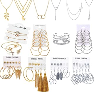 51 PCS Gold Silver Jewelry Set with 6 PCS Necklace,9 PCS Bracelet,36 PCS Layered Ball Dangle Hoop Stud Earrings for Women ...