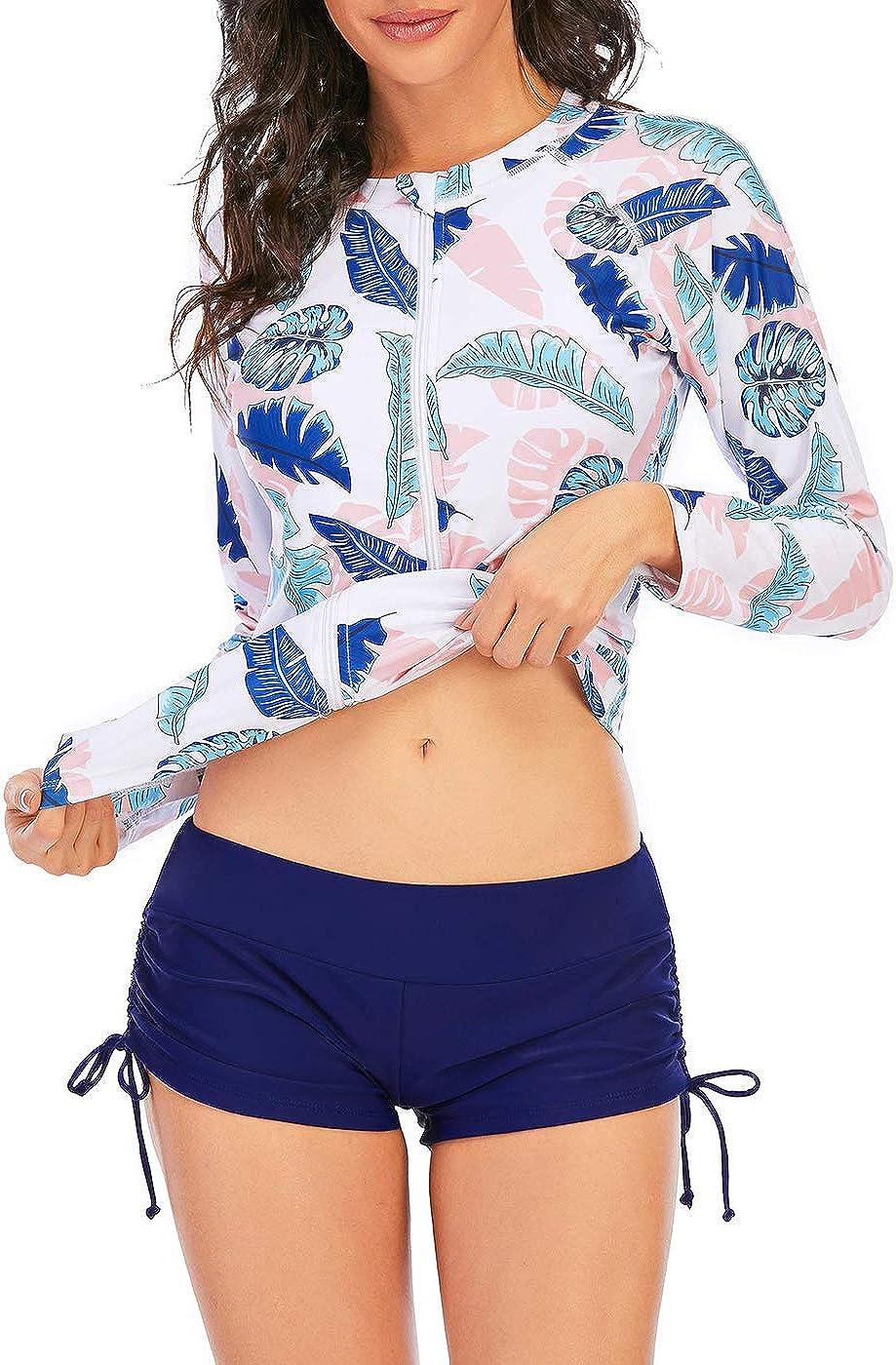 Zando Women Rash Guard Long Sleeve Swimsuits UV UPF 50+ Swim Shirts Bathing Suit Athletic Tankini Set