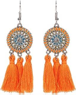 Comelyjewel Vintage Jewelry Big Circle Tassel Vintage Dangle Earrings for Women