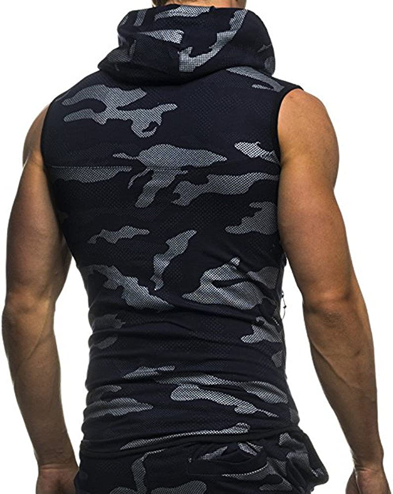 F_Gotal Men's Gym Workout Bodybuilding Stringer Tank Top Shirts Camouflage Casual Zipper Sleeveless Hoodie Muscle Vest