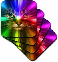 3dRose CST_18499_2 Domestic Cat Surrounded with a Rainbow of Colors Soft Coasters, Set of 8