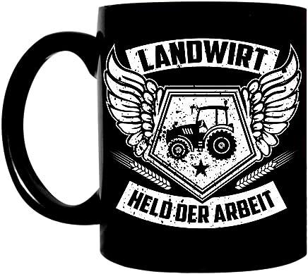 Preisvergleich für Kaffeetasse lustig schwarz 0,3l große Tasse mit Spruch bedruckt Landwirt Traktor