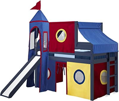 JACKPOT! Castle Low Loft Bed with Slide Red & Blue Tent and Tower, Loft Bed, Twin, Blue