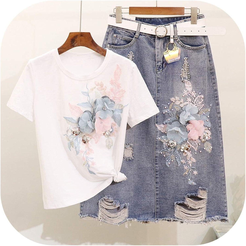 Enjoypeak Summer Lady Embroidery Sequined ThreeDimensional Flower Cotton Tshirt + Worn Skirt Two Piece Sets