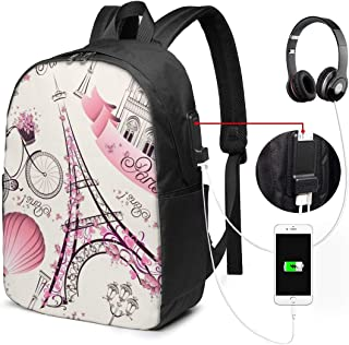 Mochila con Interfaz USB Unisex Backpack with USB Charging Port Charme Paris Classic Fashion General Business Bookbag