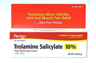 Trolamine Salicylate 10% Pain Relieving Cream with Aloe, 3 oz, Pack of 2