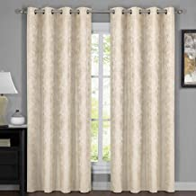 Royal Bedding Bali Curtains Beige, 100% Blackout Thermal Insulated, Top Grommet, Jacquard Woven Bali Window Panels with Wallpaper Style, Pair/Set of 2 Panels, 54Wx63L inches Each