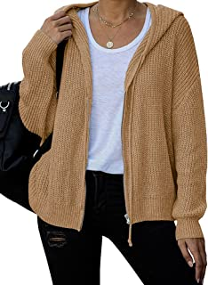 Womens Hooded Zip Up Cardigan Chunky Knit Sweater Jacket...