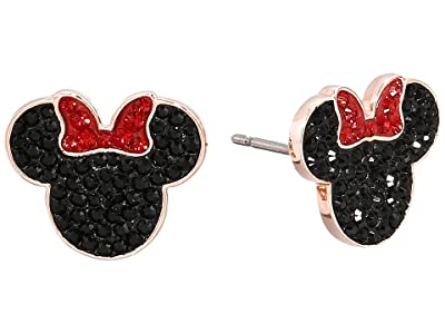Swarovski Mickey Minnie Pierced Earrings (Black/Rose Gold Plating) Earring