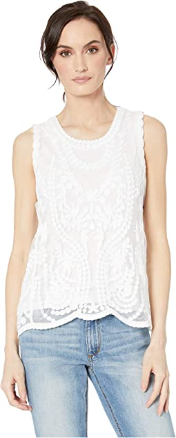0b5091aea90310 Tribal sleeveless embroidered mesh top