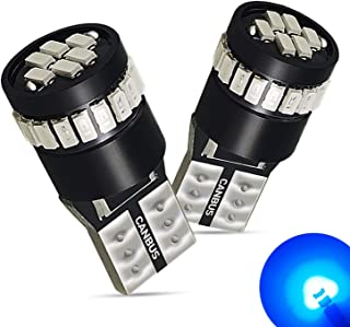 AUXITO Super Bright Ultra Blue LED Bulbs 168 175 194 2825 W5W T10 24-SMD 3014 Chipsets for Car Interior Dome Map Door Courtesy License Plate Lights (Pack of 2)