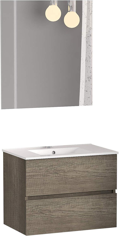 Baikal 280034132 Conjunto de Mueble de Baño suspendido a la Pared con Fondo reducido, con Lavabo y Espejo, Dos cajones, Medidas, Melamina 16, Nebraska, 50 X 55 X 40 cm