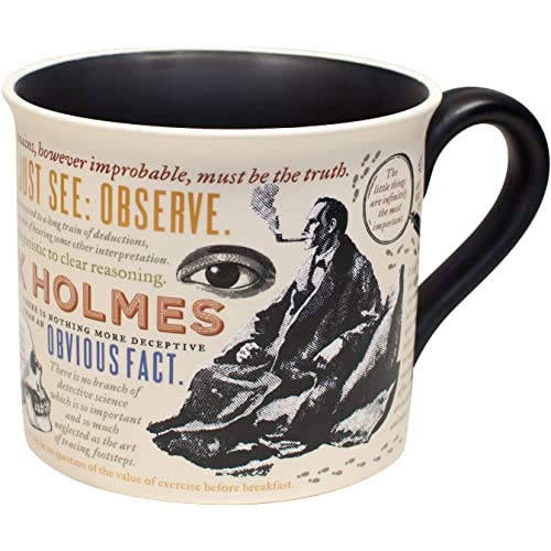 Sherlock Holmes Coffee Mug - Holmes Quotes, Rules of Deduction, Intriguing Images, and