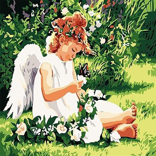 HABU Auto-Completo Pintura Digital Sin Marco Decoración Casera Pintada A Mano ángel 40  50Cm Pintura Materias Primas