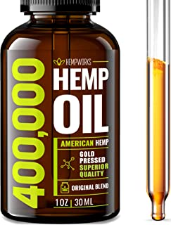 Hemp Oil 400,000 Extra Efficacy - Stress & Anxiety Relief - Made in The USA - 100% Natural & Safe Hemp Oil - Immune Support - Anti-Inflammatory & Joint Support - Ideal Omega 3, 6, 9 Balance