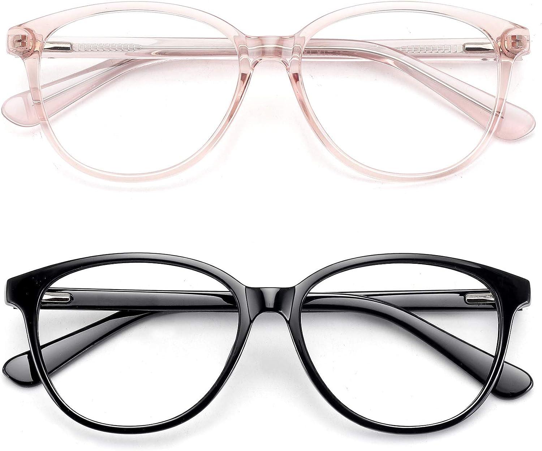 Rare Blue Light Blocking Max 77% OFF Glasses for Round Gla Women Non-prescription