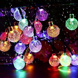 Solar Garden Lights, 50 LED 24Ft Outdoor String Lights Multi-Coloured Waterproof Crystal Ball Fairy Lights, Decorative Lig...