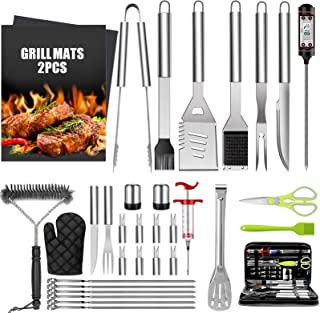 32PCS BBQ Grill Accessories Tools Set, Stainless Steel Grilling Tools with Carry Bag, Thermometer, Grill Mats for Camping/...