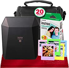 Fujifilm Instax Share SP-3 Smartphone Printer (Black) with 20 Sheets of Instant Square Film with Basic Bundle (USA Warrantty)