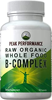 Raw Organic Whole Food Vegan B Complex Supplement. Best B-Complex with Vitamin B1, B2, B3, B5, B6, B7, B9 and B12. Vitamins from 25+ Raw Whole Food Fruits and Vegetables. 90 Capsules. Energy + Stress