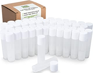 50 Lip Balm Containers - Empty Tubes - Make Your Own Lip Balm - 3/16 Oz (5.5ml) (50 Tubes, Clear)