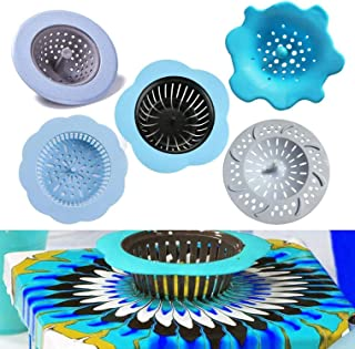 Deloky 5 Pack Acrylic Pouring Strainer, Plastic Silicone Strainer Flower Drain Basket for Pouring Acrylic Paint and Creati...