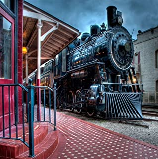 AOFOTO 5x5ft Old Steam Locomotove Photography Backdrop Vintage Train Station Photo Studio Background Kid Child Boy Girl Artistic Portrait Photoshoot Props Video Drape Wallpaper