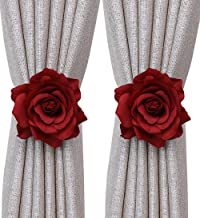 Mengersi Rose Magnetic Curtain Tiebacks, Drape Tie Backs,2 Pack Decorative Rope Holdback Holder, Thin or Sheer Window Drapries Bed Canopy (Red)