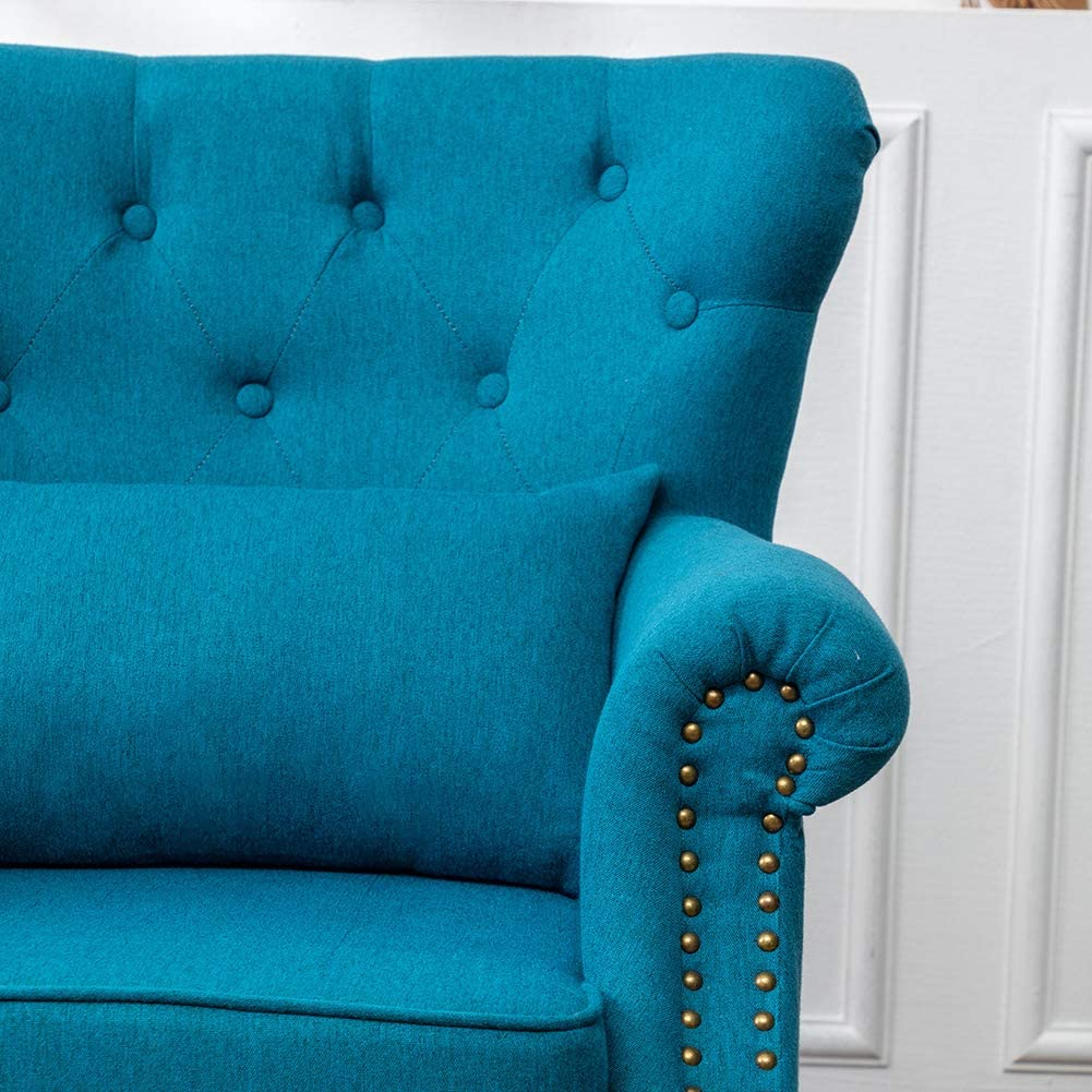 INMOZATA Armchair Linen FabricTufted Upholstered Occasional Lounge Seat Modern Tub Chair with Pillows for Dining Living Room Bedroom Office Reception Teal Blue