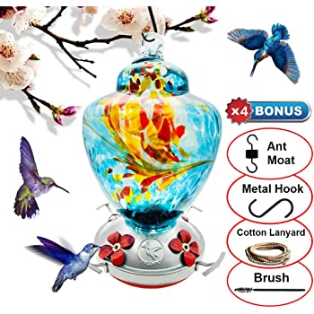 REZIPO Hummingbird Feeder with Perch - Hand Blown Glass - Blue - 38 Fluid Ounces Hummingbird Nectar Capacity Include Hanging Wires and Moat Hook