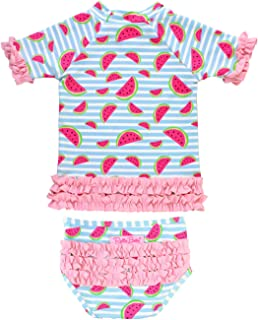 Baby/Toddler Girls Short Sleeve Printed Rash Guard Two Piece Swimsuit Set UPF 50+ Sun Protection